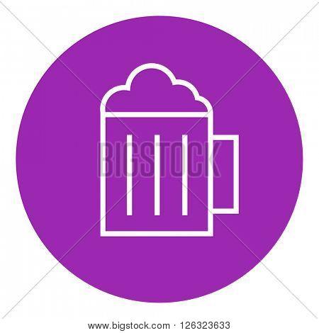 Mug of beer line icon.
