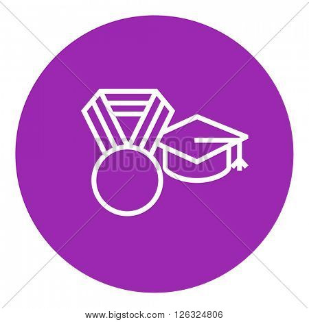 Graduation cap with medal line icon.
