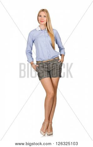 Blondie girl in gray tweed shorts isolated on white