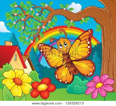 Happy butterfly topic image 3 - eps10 vector illustration.
