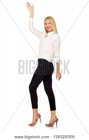 Woman wearing official casual style isolated on white