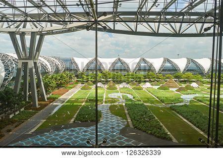 BANGKOK, THAILAND - JUNE 19, 2015: view from departure lever of Suvarnabhumi Airport . Suvarnabhumi Airport is one of two international airports serving Bangkok