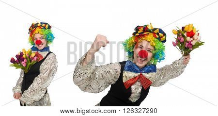 Female clown isolated on white