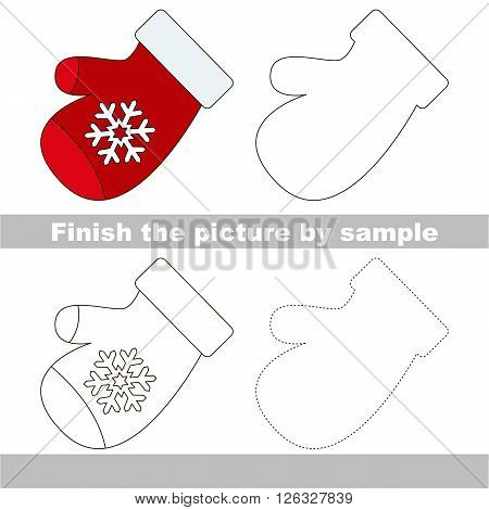 Drawing worksheet for children. Finish the picture and draw the cute Mitten