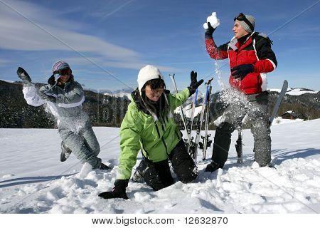 Snowball fight between friends