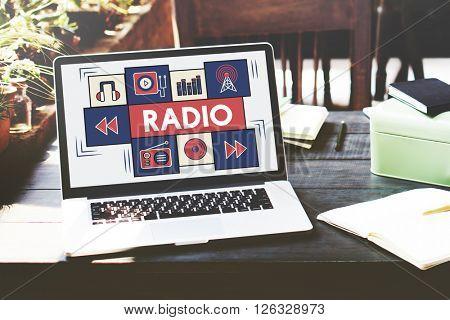Radio Music Listening Rhythm Signal Concept