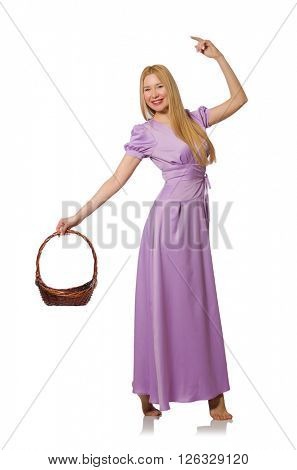 Blondie woman holding empty basket isolated on white