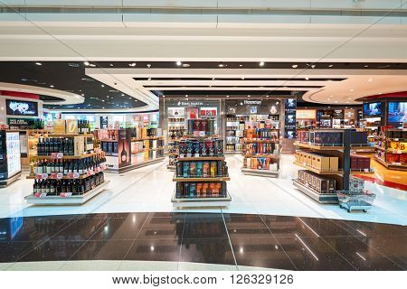 DUBAI - MARCH 09, 2016: inside of Dubai International Airport. Dubai International Airport is the primary airport serving Dubai, United Arab Emirates.