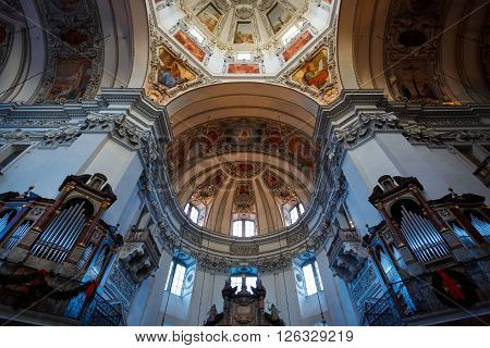 Salzburg Austria - January 07 2016: Dome of Salzburg Cathedral Church located on a Domeplatz in old town area of the city