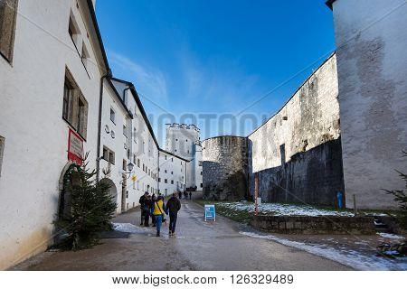 Salzburg Austria - January 07 2016: Tourists walking on the street of Hohensalzburg Castle