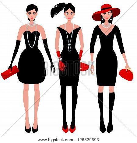 A set of cute fashionable girls on the evening of luxury glamor clothes. The stylish little black dress hat feather clutch bag pearls. Vector illustration of people isolated on white background.