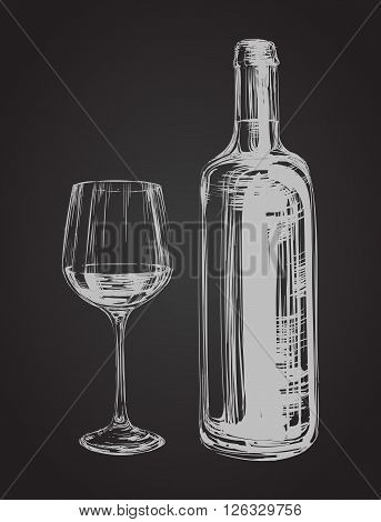Hand Drawn Illustration Wine Glass and Bottle  Hand Drawn Illustration Wine Glass and Bottle