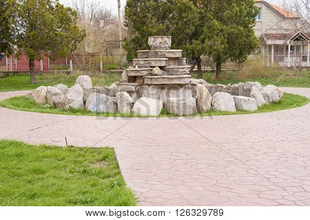 Abandoned fountain near the house of culture of the seaside village of Vityazevo on the outskirts of the city of Anapa