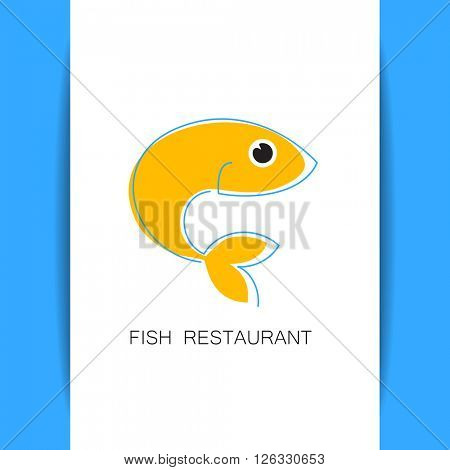 Fish restaurant logo template. Seafood identity. Template for branding identity, fish restaurant, menu card, invitations, seafood restaurant, restaurant menu. Concept design. Vector illustration.
