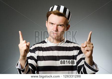 Funny prisoner in prison concept