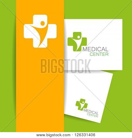 Medical center logo. Medical identity. Template design. Vector illustration.