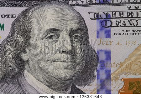 the portrait American president  Franklin on the dollar