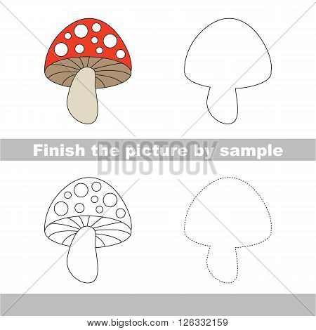 Drawing worksheet for children. Finish the picture and draw the cute Toadstool