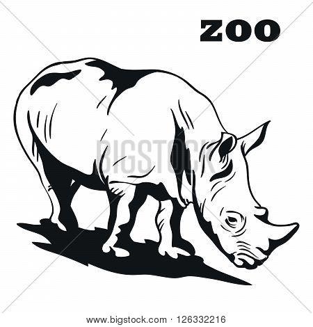 Rhinoceros. Black vector emblem on a white background
