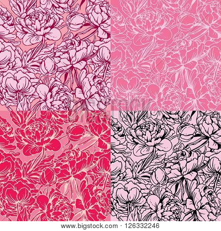 Seamless pattern with Realistic handdrawn flowers - peony - background in pink red white and black colors.