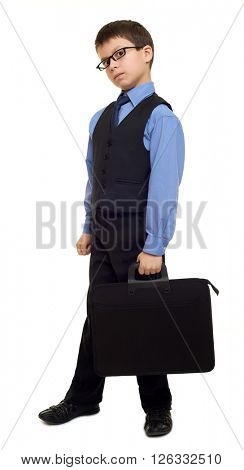 school boy in suit and briefcase on white isolated, education concept