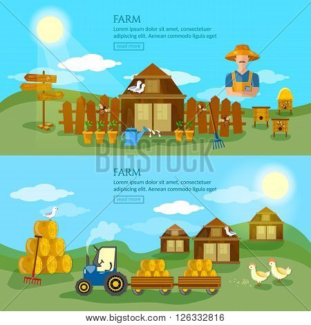 Farm banner apiarist apiary organic foods hay tractor farm landscapes