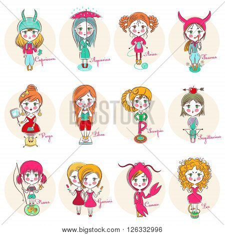 Set of vector cute cartoon girl isolated on a white background. Zodiac signs illustration.