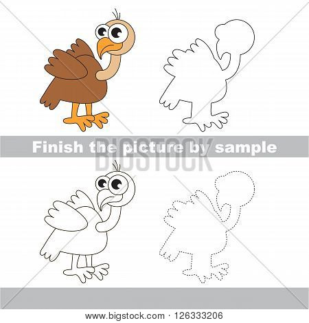 Drawing worksheet for children. Finish the picture and draw the cute Vulture