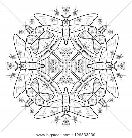 Vector abstract composition of different insects. Illustration - adult coloring or printing on clothing shirts bags packaging. Black and white. Butterfly dragonfly bee moth ant mosquito fly.