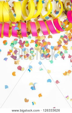 carnival background with deco like confetti and streamer vertical