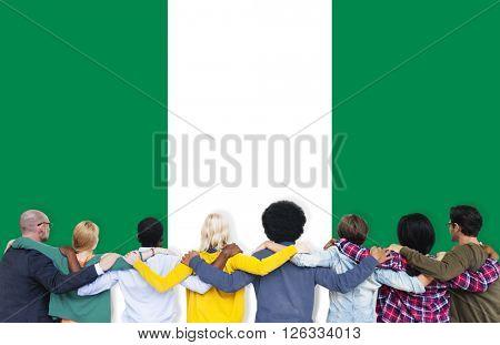 Nigeria National Flag Teamwork Diversity Concept