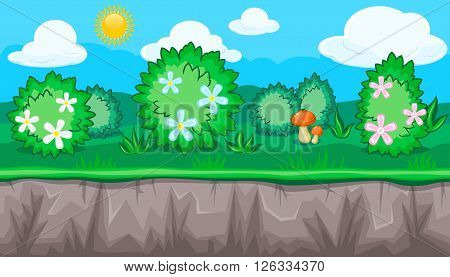Seamless horizontal summer background with blossoming shrubs and orange mushroom for video game