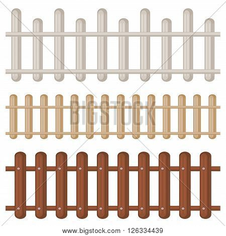 Set of three seamless colorful wooden fences isolated over white