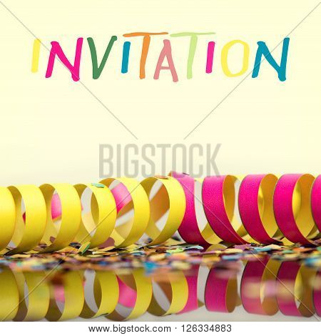 carnival background with deco like confetti and streamer with the word invitation