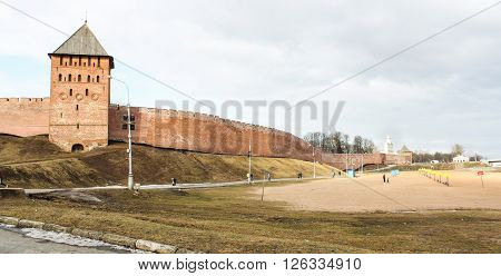 Veliky Novgorod, Russia - March 12, The beach near the walls of the Kremlin, March 12, 2016. Types of towers and walls of Kremlin in Veliky Novgorod.