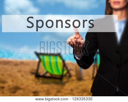 Sponsors - Businesswoman Hand Pressing Button On Touch Screen Interface.