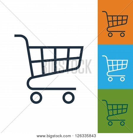 Shopping cart icon, shopping cart vector. Isolated supermarket trolley. Shopping cart logo. Shopping trolley sign. Vector shopping cart. Line style icon. Shopping cart vector icon. Shopping Cart icon in different colors. Shopping trolley. Trolley icon.