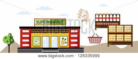Local shop or local supermarket with natural product. Dairy and vegetable. Raster illustration.