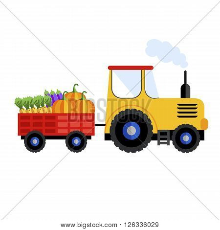 Farm tractor on white background with harvest. Raster illustration, tractor icon.