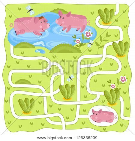Maze raster, maze game. Cartoon Maze for Kids. Educational game for children, funny game. Raster Labyrinth. Childrens logic game. Help the hero to find a way out.