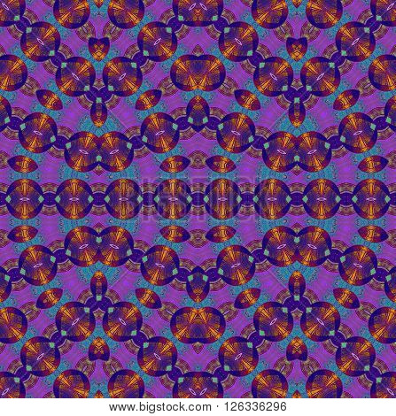 Abstract geometric seamless background. Ornate multicolored ellipses and circles pattern with element in orange, violet, purple and turquoise blue.