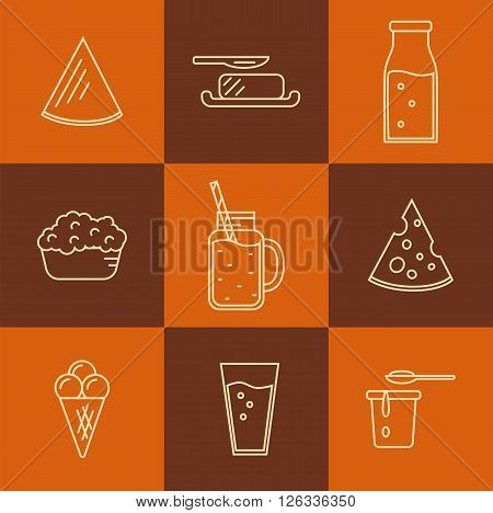 Dairy Product Icon Set. Milk, Cheese, Ice Cream, Butter and other Dairy Product. Different Milk Product in line style design. Isolated dairy products icon.