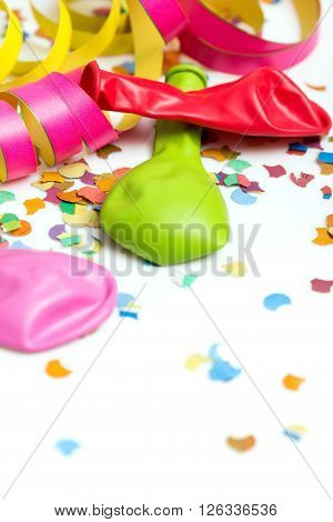 carnival background with deco like confetti and streamer and balloons