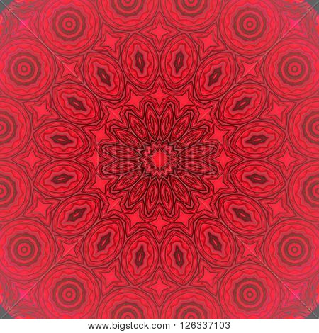 Abstract geometric seamless background. Concentric circle ornament in red shades with dark brown, gray and black outlines, ornate and dreamy.