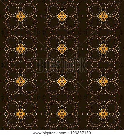 Abstract geometric seamless background. Regular diamond and circles pattern yellow, orange and ocher on dark brown.