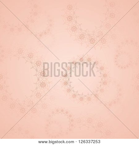 Abstract geometric seamless background. Delicate and dreamy floral circles pattern blurred. Laces pattern in apricot color.