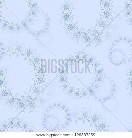 Abstract geometric seamless background. Delicate and dreamy floral circles pattern blurred. Blue laces pattern on pastel blue.