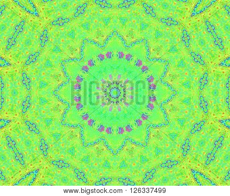Abstract geometric seamless background. Floral circle pattern, concentric ornament in bright green shades with light blue, purple and yellow elements, delicate and dreamy.