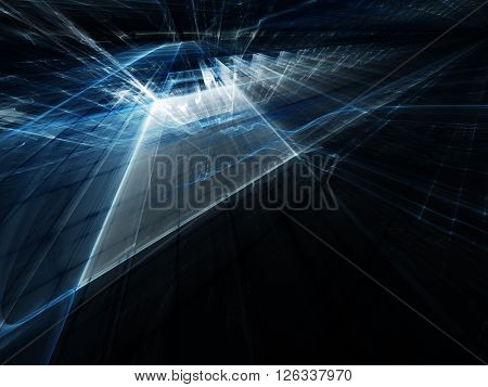 Abstract background element. Fractal graphics series. Blue colors on black.