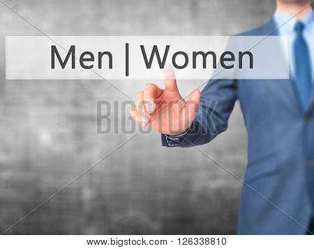 Men Women - Businessman Hand Pressing Button On Touch Screen Interface.